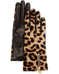 Guantes de cuero de leopardo marrónes de Diane von Furstenberg