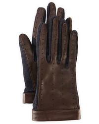 Guantes de cuero en marrón oscuro de Lanvin