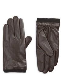 Guantes de cuero en marrón oscuro de Topman