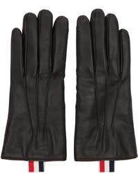 Guantes de cuero negros de Thom Browne
