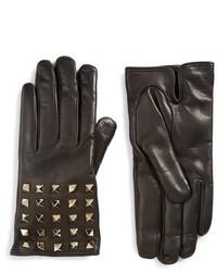 Guantes de cuero negros de Valentino