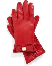 Guantes de cuero rojos de Kate Spade