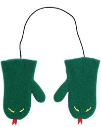 Guantes de lana con print de serpiente verdes de Au Jour Le Jour