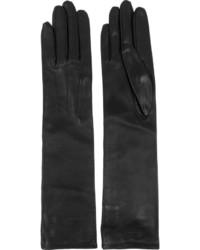 Guantes largos de cuero negros de Lanvin