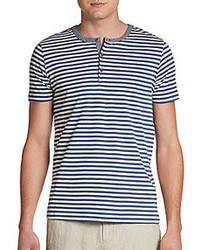 Horizontal Striped Henley Shirt