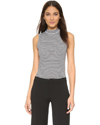 Horizontal striped sleeveless turtleneck original 10574719