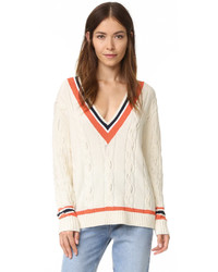 Horizontal striped v neck sweater original 1326527