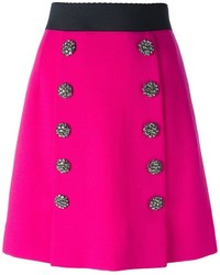 Dolce & Gabbana Jewel Buttoned A Line Skirt