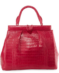 Nancy Gonzalez Crocodile Large Pleated Satchel Bag Fuchsia