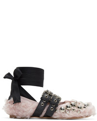 Miu Miu Pink Eco Shearling Double Buckle Ballerina Flats
