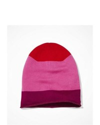 Express Striped Slouchy Knit Beanie Pink