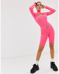 Criminal Damage Structured Legging Shorts In Neon
