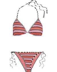 Missoni Mare Crochet Knit Triangle Bikini Pink