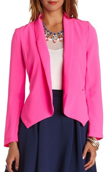 Hot Pink Blazer Charlotte Russe Neon Studded Open Blazer | Where to buy u0026 how to wear
