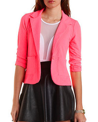 Charlotte Russe Textured Neon Single Button Blazer