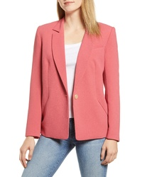 1 STATE Textured Crepe Single Button Blazer