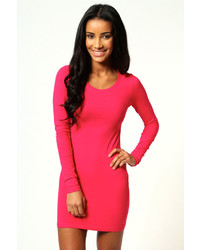... Boohoo Camille Long Sleeve Jersey Bodycon Dress b588df638
