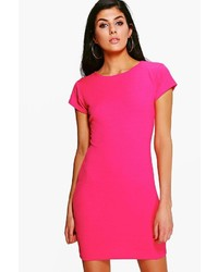 Boohoo Cara Textured Crew Neck Bodycon Dress
