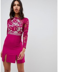 Little Mistress Long Sleeve Skater Dress With Lace Upper