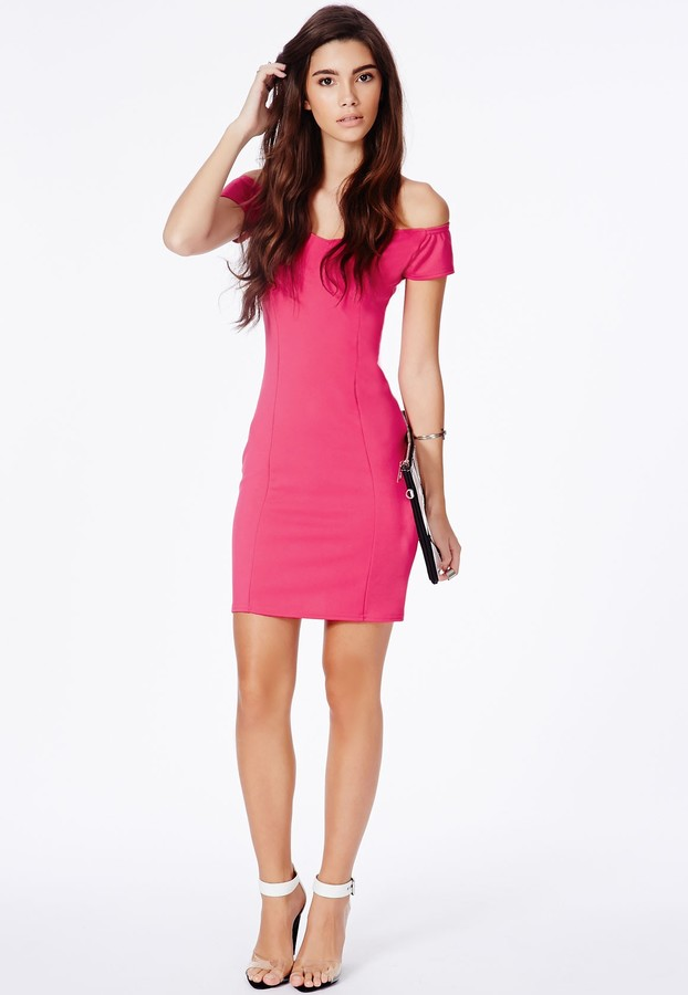 156c15fa1e39 ... Missguided Shirley Bardot Bodycon Mini Dress In Hot Pink ...