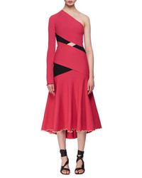 One shoulder exposed bandage midi dress fuchsia medium 4983635