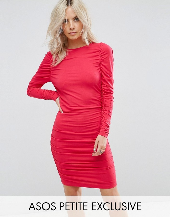 fc20d30962a1 Asos Petite Petite Ruched Mini Bodycon Dress With Long Sleeve, $35 ...
