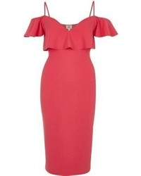 River Island Pink Frill Cold Shoulder Bodycon Dress