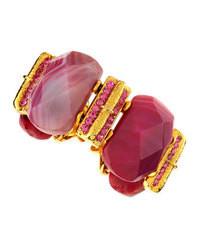 Jose & Maria Barrera Big Stone Bracelet Dyed Pink Jade