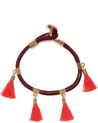 Chloé Gold Tone And Tasseled Cotton Bracelet Pink