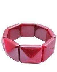 FashionJewelryForEveryone Geomatric Stretchable Bracelet Redish Pink Bead Stretchy Bracelet