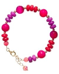 Macy's 14k Gold Over Sterling Silver Bracelet Dyed Pink Lavender And Red Agate Bracelet