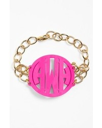 Moon and Lola Annabel Large Personalized Monogram Bracelet Hot Pink Gold