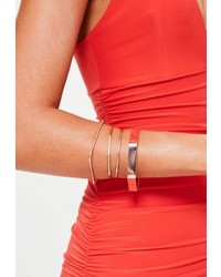 Missguided Rose Gold Metal Stacking Bracelets