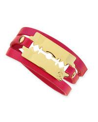 McQ Alexander McQueen Shiny Razor Blade Wrap Bracelet Hot Pink