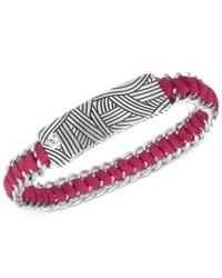 The Sak Bracelet Silver Tone Batik Design Plaque Pink Woven Link Bracelet