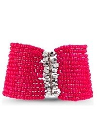 VistaBella Pink Silver Tone Beads Wide Stretch Bracelet