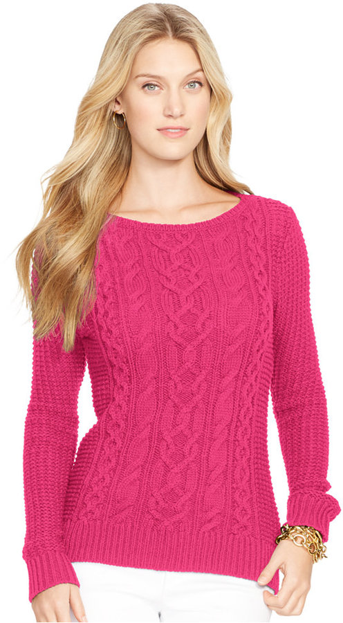Lauren Ralph Lauren Boat Neck Cable Knit Sweater | Where to buy ...
