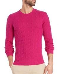 Cable cashmere crewneck sweater medium 598124
