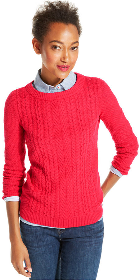 Tommy Hilfiger Cable Knit Crew Neck Sweater | Where to buy & how ...