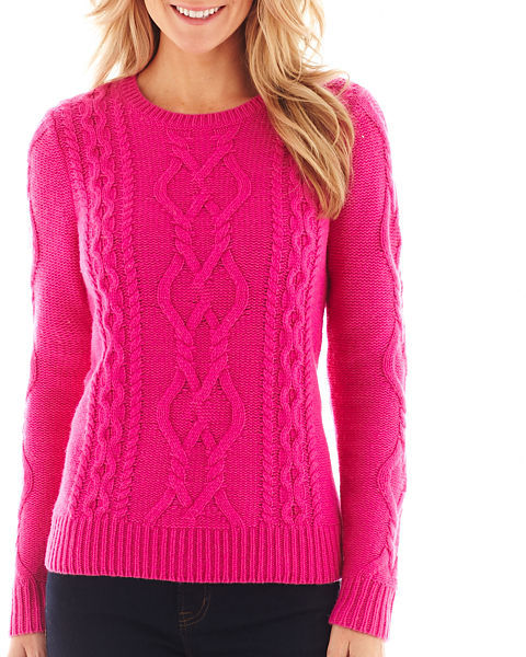 jcpenney Jcp Long Sleeve Chunky Cable Sweater Tall | Where to buy ...