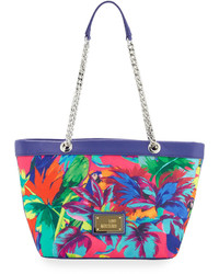Love Moschino Jungle Canvas Shoulder Bag Fuchsia