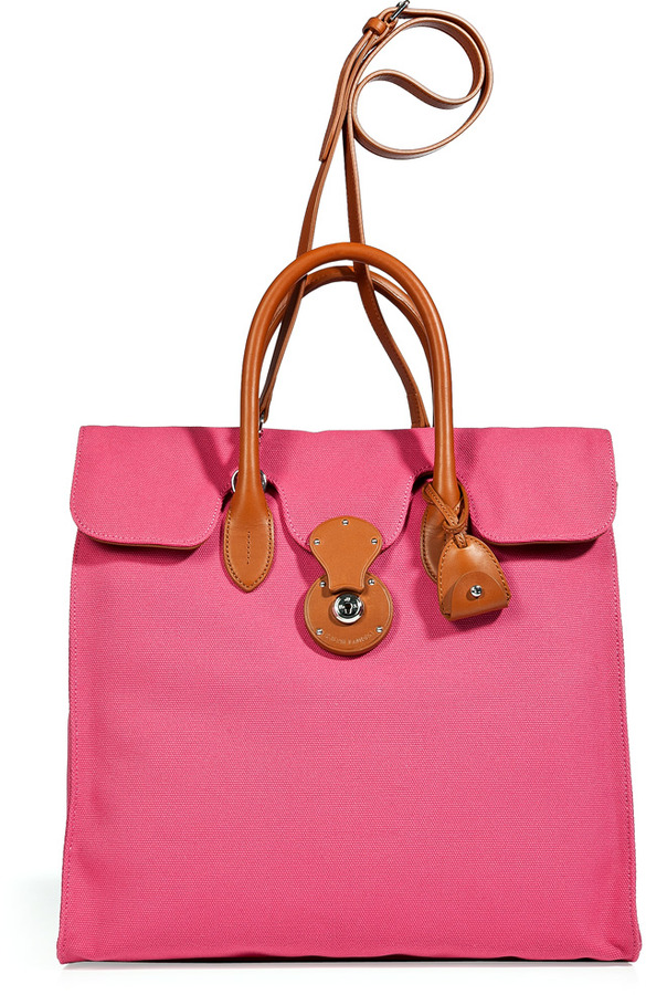 88279f180d90 ... Ralph Lauren Collection Hot Pink Canvas Tote ...