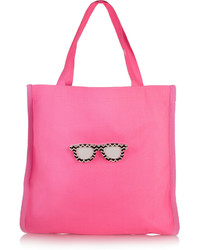 Koku Fay Appliqud Neon Canvas Tote