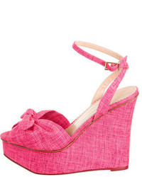 Hot Pink Canvas Wedge Sandals