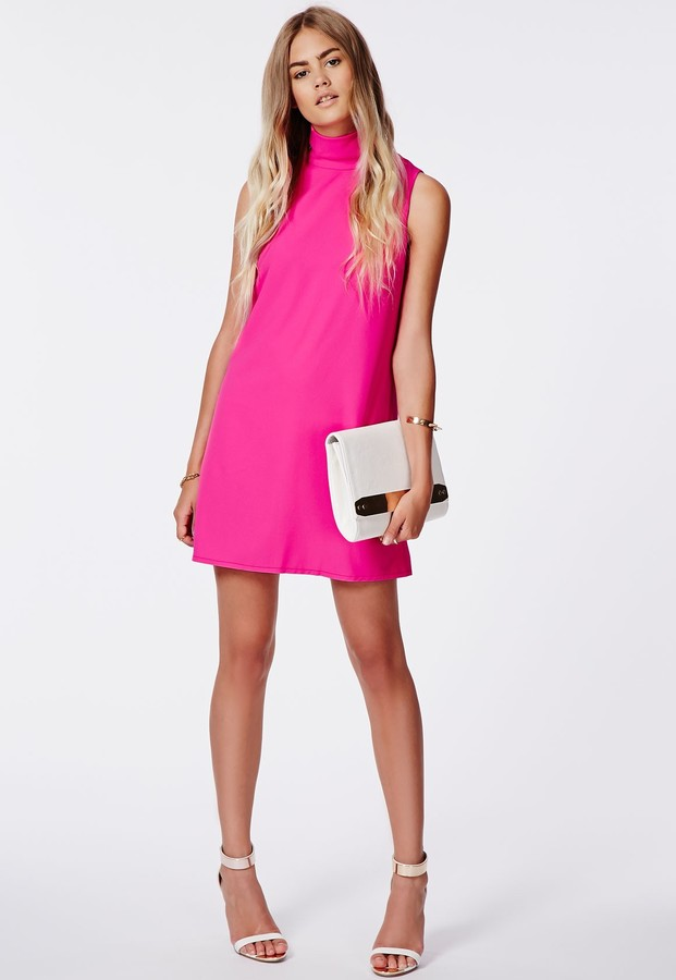 Missguided Callie Roll Neck Shift Dress Hot Pink | Where to buy ...