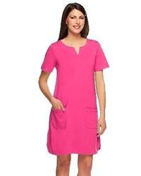 Susan graver weekend french terry short sleeve dress wsplit v neck medium 115934