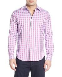 Hot Pink Check Long Sleeve Shirt