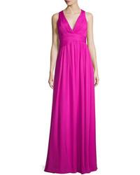 Sleeveless v neck draped chiffon gown medium 651414