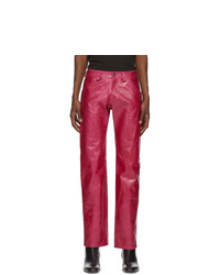 Mowalola Pink Patent Leather Suit Trousers