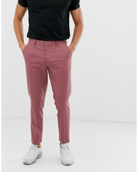ASOS DESIGN Skinny Smart Trousers In Dusty Berry